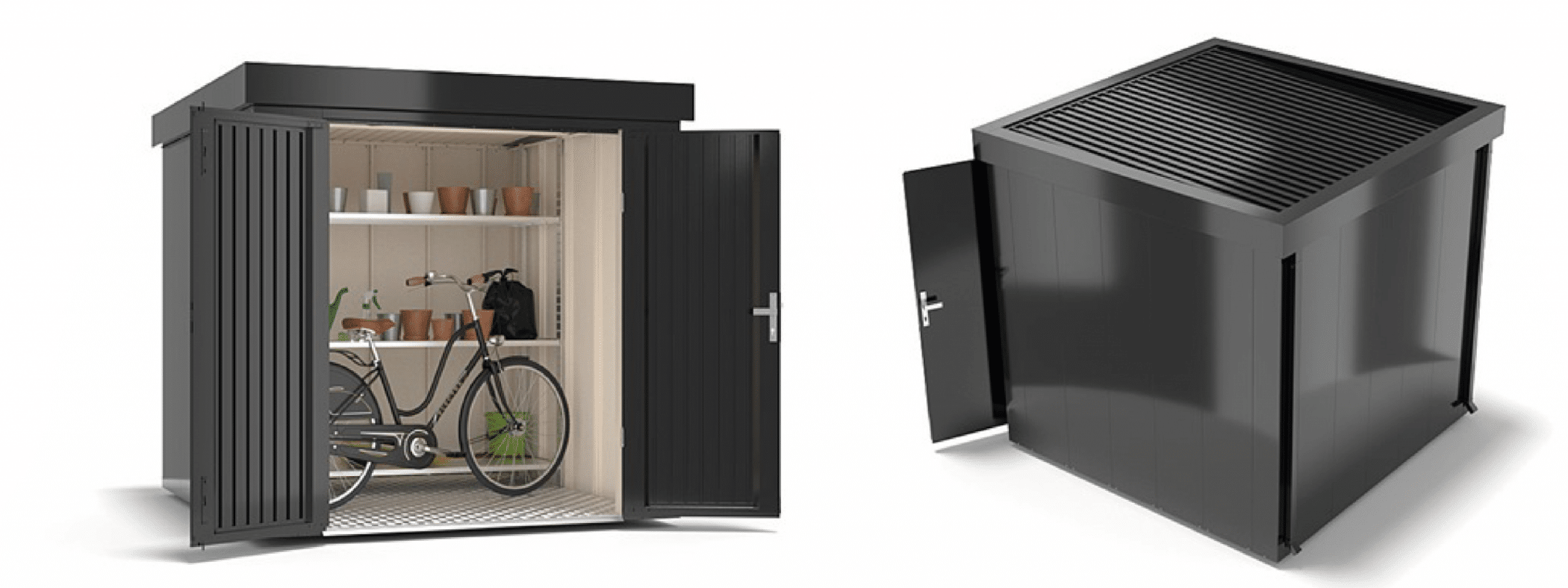 garden shed steel metal grey front and back