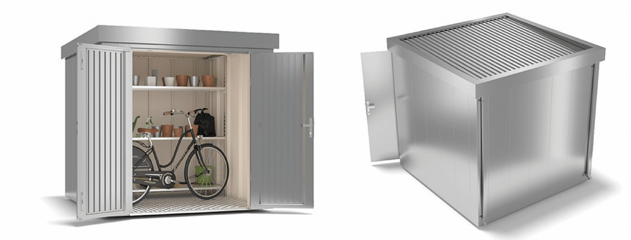 garden shed silver metal front and back view