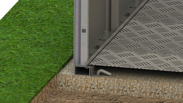 base plate / garden shed floor/ close up / with grass